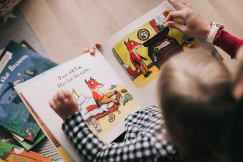 small child looking at a picture book