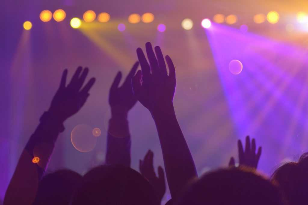 hands raised at a concert with the stage and lights in the background