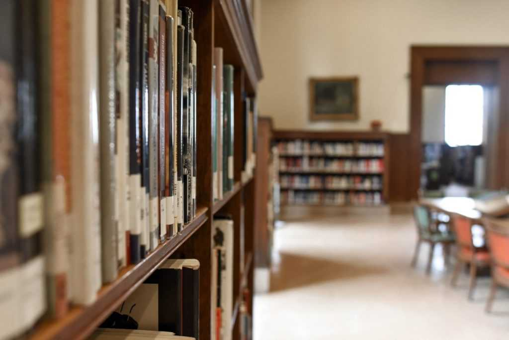 library, showing a bookcase with several library books and a table in the background