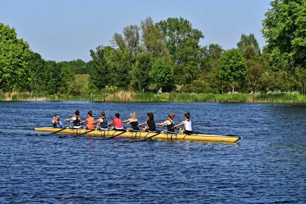 rowing in an eight on the river