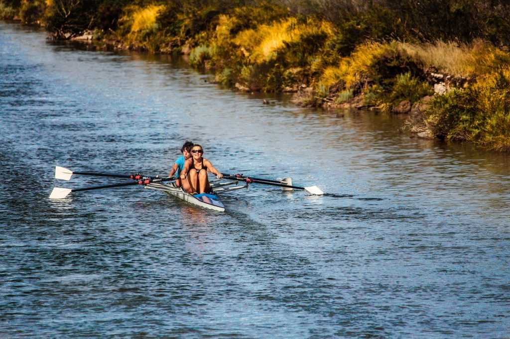 rowing on a river in a double scull